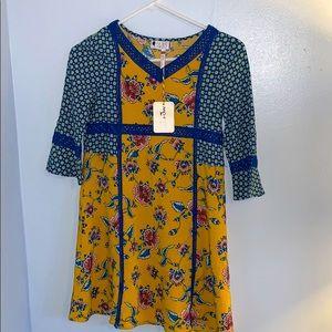 Matilda Jane Blue Gold Floral Dress Sz 12  NWT
